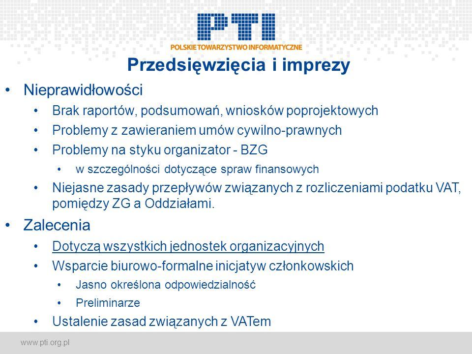 www.pti.org.pl Przedsięwzięcia i imprezy Nieprawidłowości Brak raportów, podsumowań, wniosków poprojektowych Problemy z zawieraniem umów cywilno-prawnych Problemy na styku organizator - BZG w szczególności dotyczące spraw finansowych Niejasne zasady przepływów związanych z rozliczeniami podatku VAT, pomiędzy ZG a Oddziałami.