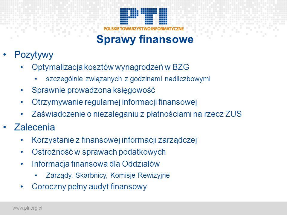 www.pti.org.pl Sprawy finansowe Pozytywy Optymalizacja kosztów wynagrodzeń w BZG szczególnie związanych z godzinami nadliczbowymi Sprawnie prowadzona