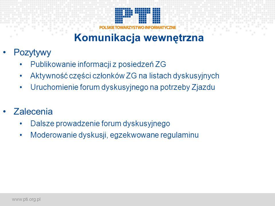 www.pti.org.pl Komunikacja wewnętrzna Pozytywy Publikowanie informacji z posiedzeń ZG Aktywność części członków ZG na listach dyskusyjnych Uruchomieni