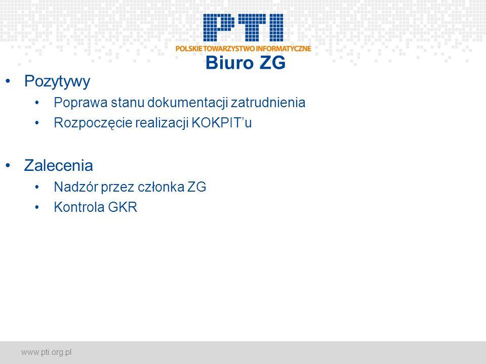www.pti.org.pl Biuro ZG Pozytywy Poprawa stanu dokumentacji zatrudnienia Rozpoczęcie realizacji KOKPITu Zalecenia Nadzór przez członka ZG Kontrola GKR
