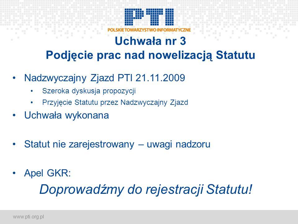www.pti.org.pl Uchwała nr 3 Podjęcie prac nad nowelizacją Statutu Nadzwyczajny Zjazd PTI 21.11.2009 Szeroka dyskusja propozycji Przyjęcie Statutu prze