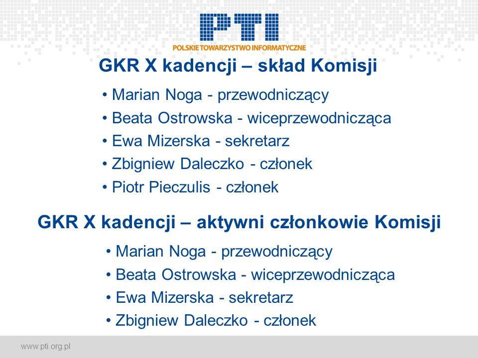 www.pti.org.pl GKR X kadencji – skład Komisji Marian Noga - przewodniczący Beata Ostrowska - wiceprzewodnicząca Ewa Mizerska - sekretarz Zbigniew Dale