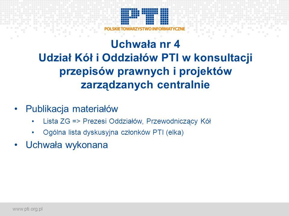 www.pti.org.pl Uchwała nr 4 Udział Kół i Oddziałów PTI w konsultacji przepisów prawnych i projektów zarządzanych centralnie Publikacja materiałów Lista ZG => Prezesi Oddziałów, Przewodniczący Kół Ogólna lista dyskusyjna członków PTI (elka) Uchwała wykonana