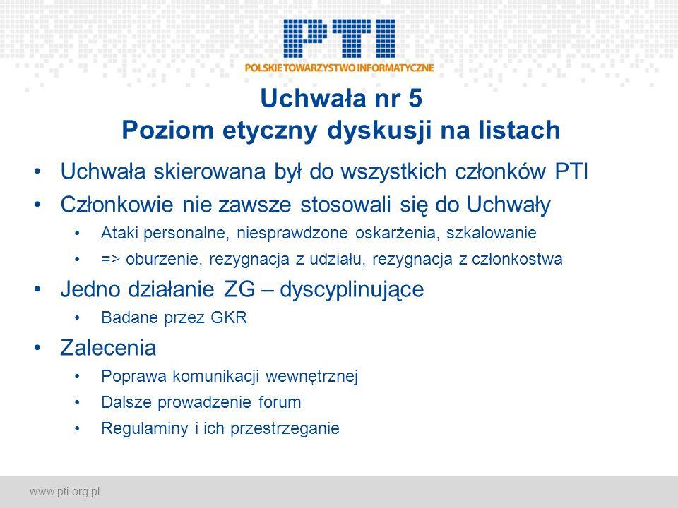 www.pti.org.pl Uchwała nr 5 Poziom etyczny dyskusji na listach Uchwała skierowana był do wszystkich członków PTI Członkowie nie zawsze stosowali się d
