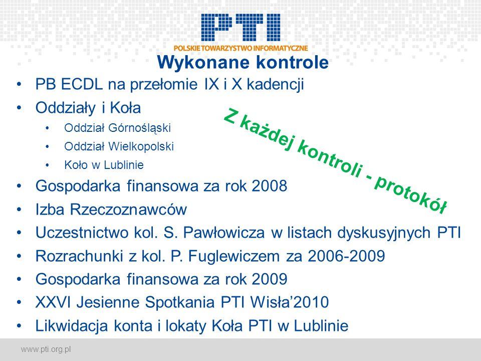 www.pti.org.pl Wykonane kontrole PB ECDL na przełomie IX i X kadencji Oddziały i Koła Oddział Górnośląski Oddział Wielkopolski Koło w Lublinie Gospoda