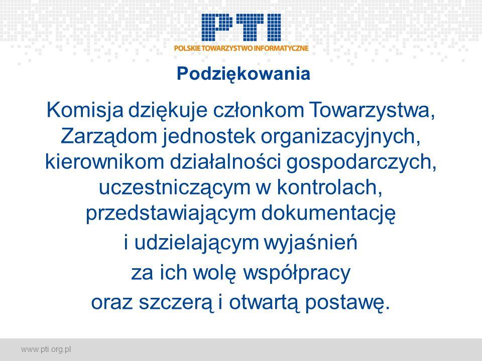 www.pti.org.pl Podziękowania Komisja dziękuje członkom Towarzystwa, Zarządom jednostek organizacyjnych, kierownikom działalności gospodarczych, uczest
