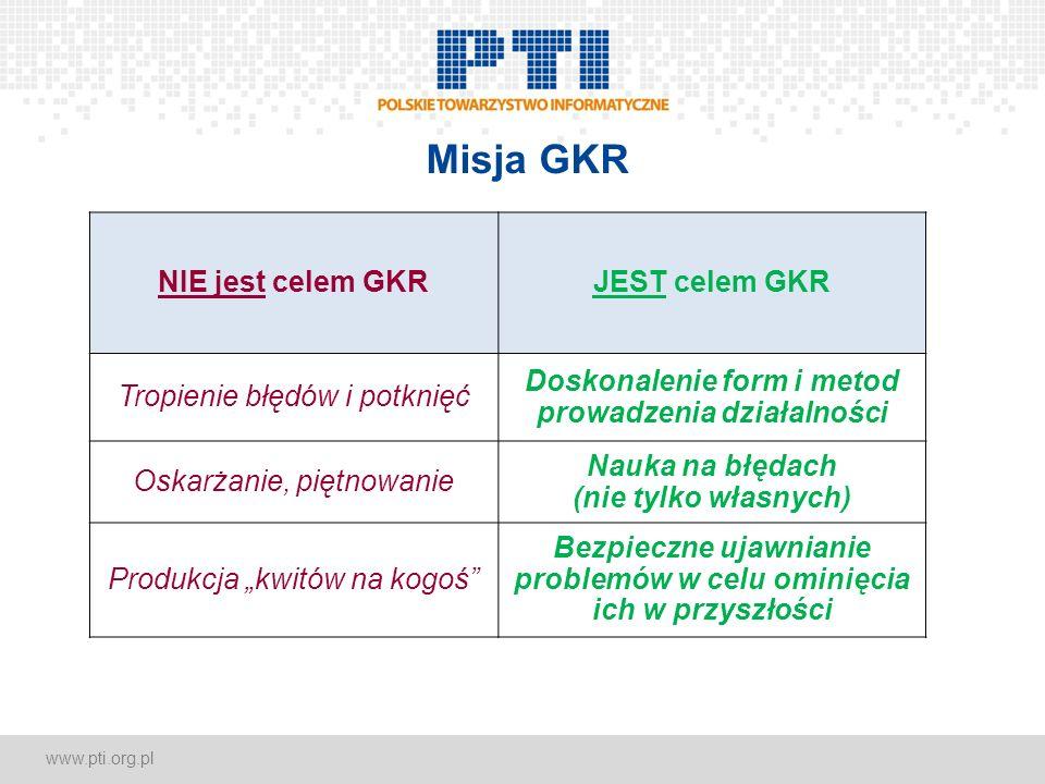 www.pti.org.pl Misja GKR NIE jest celem GKRJEST celem GKR Tropienie błędów i potknięć Doskonalenie form i metod prowadzenia działalności Oskarżanie, p