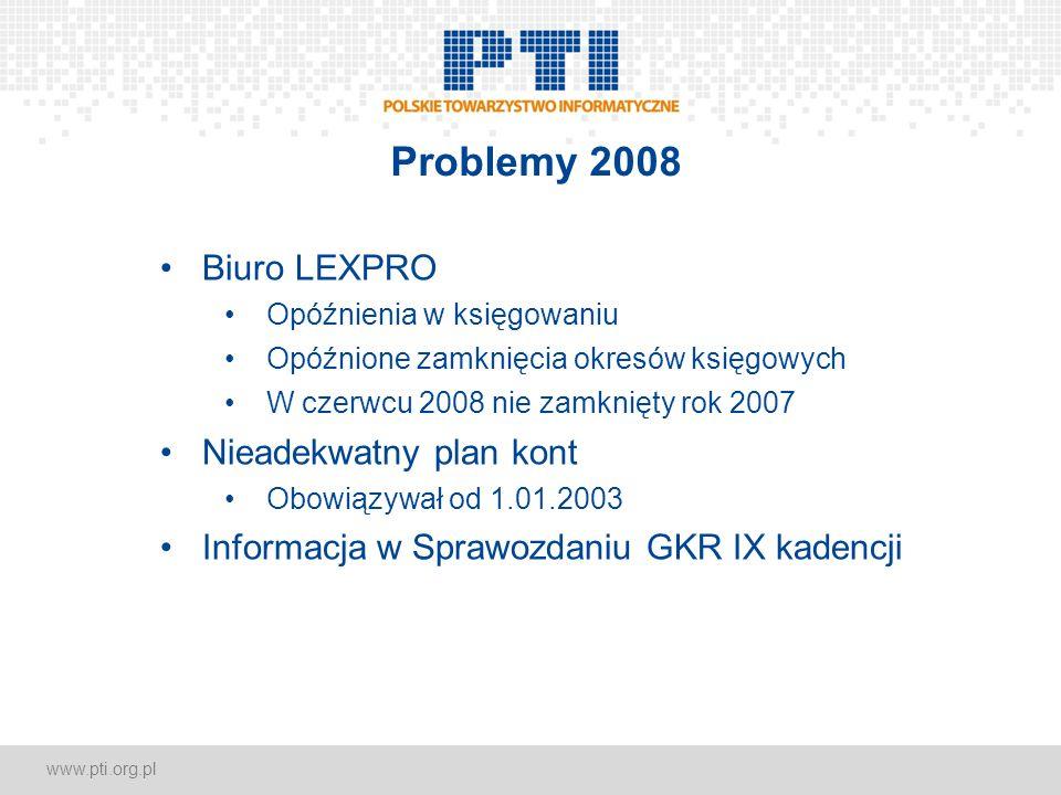 www.pti.org.pl Problemy 2008 Biuro LEXPRO Opóźnienia w księgowaniu Opóźnione zamknięcia okresów księgowych W czerwcu 2008 nie zamknięty rok 2007 Niead