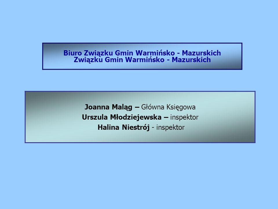 Biuro Związku Gmin Warmińsko - Mazurskich Związku Gmin Warmińsko - Mazurskich Joanna Maląg – Główna Księgowa Urszula Młodziejewska – inspektor Halina Niestrój - inspektor