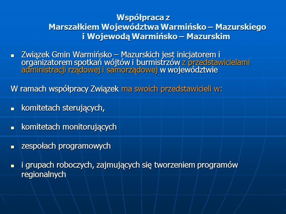 Współpraca z Marszałkiem Województwa Warmińsko – Mazurskiego i Wojewodą Warmińsko – Mazurskim Związek Gmin Warmińsko – Mazurskich jest inicjatorem i organizatorem spotkań wójtów i burmistrzów z przedstawicielami administracji rządowej i samorządowej w województwie Związek Gmin Warmińsko – Mazurskich jest inicjatorem i organizatorem spotkań wójtów i burmistrzów z przedstawicielami administracji rządowej i samorządowej w województwie W ramach współpracy Związek ma swoich przedstawicieli w: komitetach sterujących, komitetach sterujących, komitetach monitorujących komitetach monitorujących zespołach programowych zespołach programowych i grupach roboczych, zajmujących się tworzeniem programów regionalnych i grupach roboczych, zajmujących się tworzeniem programów regionalnych
