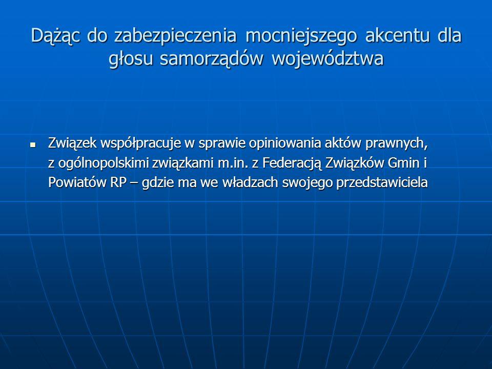 Dążąc do zabezpieczenia mocniejszego akcentu dla głosu samorządów województwa Związek współpracuje w sprawie opiniowania aktów prawnych, z ogólnopolskimi związkami m.in.