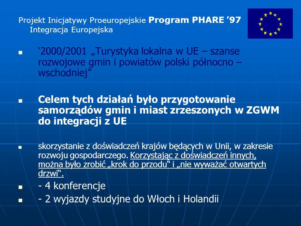 2000/2001 Turystyka lokalna w UE – szanse rozwojowe gmin i powiatów polski północno – wschodniej Celem tych działań było przygotowanie samorządów gmin i miast zrzeszonych w ZGWM do integracji z UE skorzystanie z doświadczeń krajów będących w Unii, w zakresie rozwoju gospodarczego.