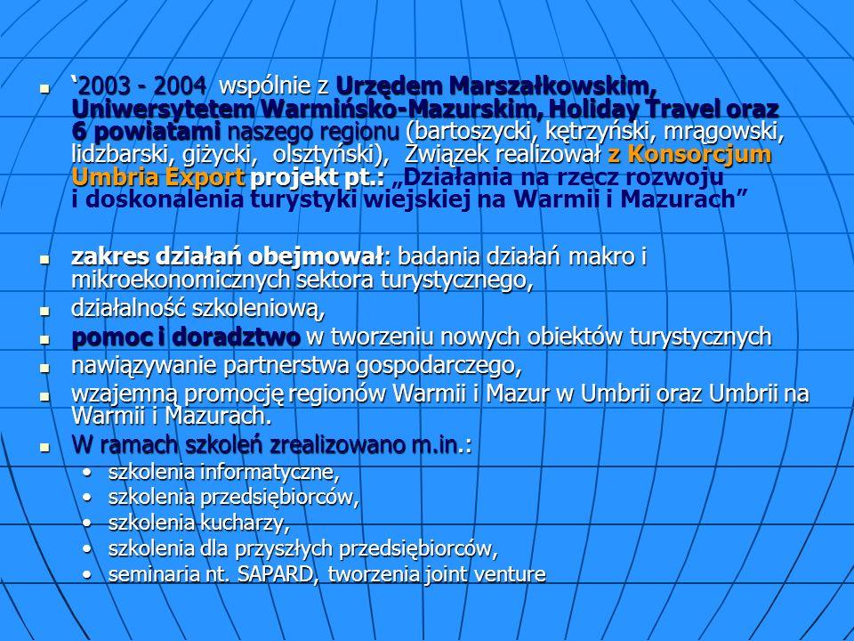 2003 - 2004 wspólnie z Urzędem Marszałkowskim, Uniwersytetem Warmińsko-Mazurskim, Holiday Travel oraz 6 powiatami naszego regionu (bartoszycki, kętrzyński, mrągowski, lidzbarski, giżycki, olsztyński), Związek realizował z Konsorcjum Umbria Export projekt pt.:2003 - 2004 wspólnie z Urzędem Marszałkowskim, Uniwersytetem Warmińsko-Mazurskim, Holiday Travel oraz 6 powiatami naszego regionu (bartoszycki, kętrzyński, mrągowski, lidzbarski, giżycki, olsztyński), Związek realizował z Konsorcjum Umbria Export projekt pt.: Działania na rzecz rozwoju i doskonalenia turystyki wiejskiej na Warmii i Mazurach zakres działań obejmował: badania działań makro i mikroekonomicznych sektora turystycznego, zakres działań obejmował: badania działań makro i mikroekonomicznych sektora turystycznego, działalność szkoleniową, działalność szkoleniową, pomoc i doradztwo w tworzeniu nowych obiektów turystycznych pomoc i doradztwo w tworzeniu nowych obiektów turystycznych nawiązywanie partnerstwa gospodarczego, nawiązywanie partnerstwa gospodarczego, wzajemną promocję regionów Warmii i Mazur w Umbrii oraz Umbrii na Warmii i Mazurach.