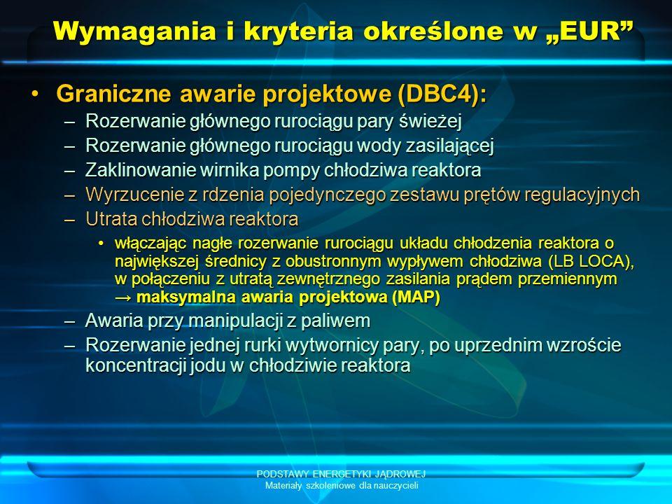 PODSTAWY ENERGETYKI JĄDROWEJ Materiały szkoleniowe dla nauczycieli Wymagania i kryteria określone w EUR Graniczne awarie projektowe (DBC4):Graniczne awarie projektowe (DBC4): –Rozerwanie głównego rurociągu pary świeżej –Rozerwanie głównego rurociągu wody zasilającej –Zaklinowanie wirnika pompy chłodziwa reaktora –Wyrzucenie z rdzenia pojedynczego zestawu prętów regulacyjnych –Utrata chłodziwa reaktora włączając nagłe rozerwanie rurociągu układu chłodzenia reaktora o największej średnicy z obustronnym wypływem chłodziwa (LB LOCA), w połączeniu z utratą zewnętrznego zasilania prądem przemiennym maksymalna awaria projektowa (MAP)włączając nagłe rozerwanie rurociągu układu chłodzenia reaktora o największej średnicy z obustronnym wypływem chłodziwa (LB LOCA), w połączeniu z utratą zewnętrznego zasilania prądem przemiennym maksymalna awaria projektowa (MAP) –Awaria przy manipulacji z paliwem –Rozerwanie jednej rurki wytwornicy pary, po uprzednim wzroście koncentracji jodu w chłodziwie reaktora