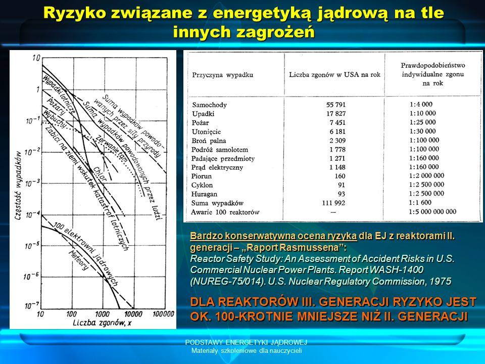 PODSTAWY ENERGETYKI JĄDROWEJ Materiały szkoleniowe dla nauczycieli Ryzyko związane z energetyką jądrową na tle innych zagrożeń Bardzo konserwatywna ocena ryzyka dla EJ z reaktorami II.