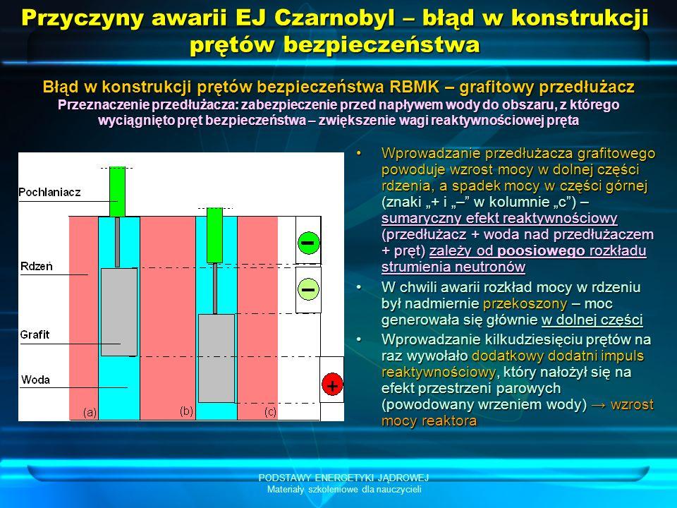 PODSTAWY ENERGETYKI JĄDROWEJ Materiały szkoleniowe dla nauczycieli Przyczyny awarii EJ Czarnobyl – błąd w konstrukcji prętów bezpieczeństwa Wprowadzanie przedłużacza grafitowego powoduje wzrost mocy w dolnej części rdzenia, a spadek mocy w części górnej (znaki + i – w kolumnie c) – sumaryczny efekt reaktywnościowy (przedłużacz + woda nad przedłużaczem + pręt) zależy od poosiowego rozkładu strumienia neutronówWprowadzanie przedłużacza grafitowego powoduje wzrost mocy w dolnej części rdzenia, a spadek mocy w części górnej (znaki + i – w kolumnie c) – sumaryczny efekt reaktywnościowy (przedłużacz + woda nad przedłużaczem + pręt) zależy od poosiowego rozkładu strumienia neutronów W chwili awarii rozkład mocy w rdzeniu był nadmiernie przekoszony – moc generowała się głównie w dolnej częściW chwili awarii rozkład mocy w rdzeniu był nadmiernie przekoszony – moc generowała się głównie w dolnej części Wprowadzanie kilkudziesięciu prętów na raz wywołało dodatkowy dodatni impuls reaktywnościowy, który nałożył się na efekt przestrzeni parowych (powodowany wrzeniem wody) wzrost mocy reaktoraWprowadzanie kilkudziesięciu prętów na raz wywołało dodatkowy dodatni impuls reaktywnościowy, który nałożył się na efekt przestrzeni parowych (powodowany wrzeniem wody) wzrost mocy reaktora Błąd w konstrukcji prętów bezpieczeństwa RBMK – grafitowy przedłużacz Przeznaczenie przedłużacza: zabezpieczenie przed napływem wody do obszaru, z którego wyciągnięto pręt bezpieczeństwa – zwiększenie wagi reaktywnościowej pręta