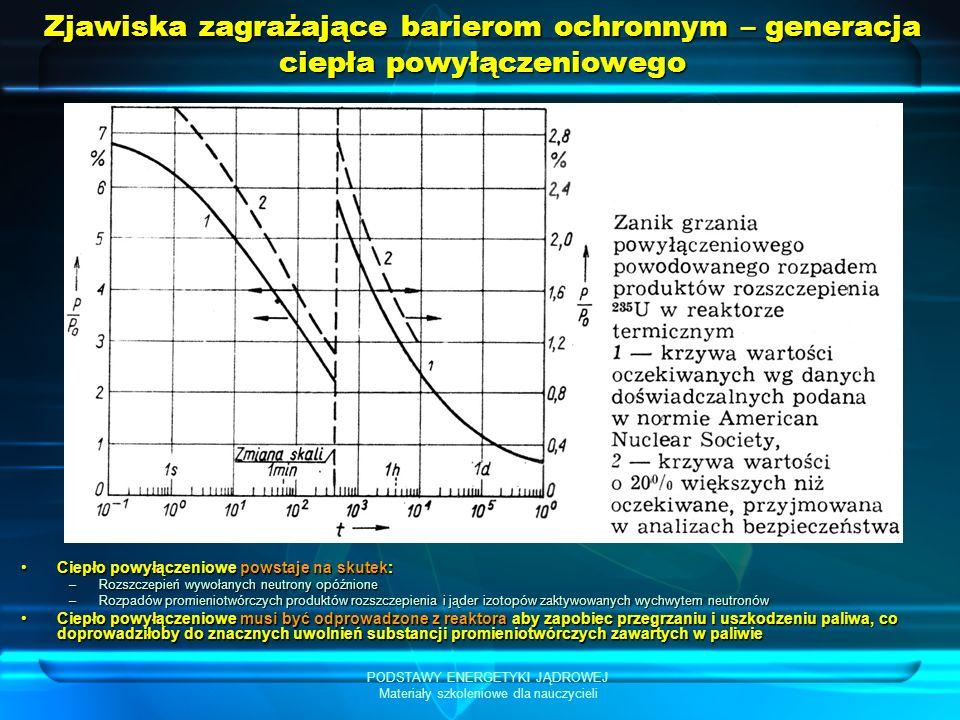PODSTAWY ENERGETYKI JĄDROWEJ Materiały szkoleniowe dla nauczycieli Zjawiska zagrażające barierom ochronnym – generacja ciepła powyłączeniowego Ciepło powyłączeniowe powstaje na skutek:Ciepło powyłączeniowe powstaje na skutek: –Rozszczepień wywołanych neutrony opóźnione –Rozpadów promieniotwórczych produktów rozszczepienia i jąder izotopów zaktywowanych wychwytem neutronów Ciepło powyłączeniowe musi być odprowadzone z reaktora aby zapobiec przegrzaniu i uszkodzeniu paliwa, co doprowadziłoby do znacznych uwolnień substancji promieniotwórczych zawartych w paliwieCiepło powyłączeniowe musi być odprowadzone z reaktora aby zapobiec przegrzaniu i uszkodzeniu paliwa, co doprowadziłoby do znacznych uwolnień substancji promieniotwórczych zawartych w paliwie