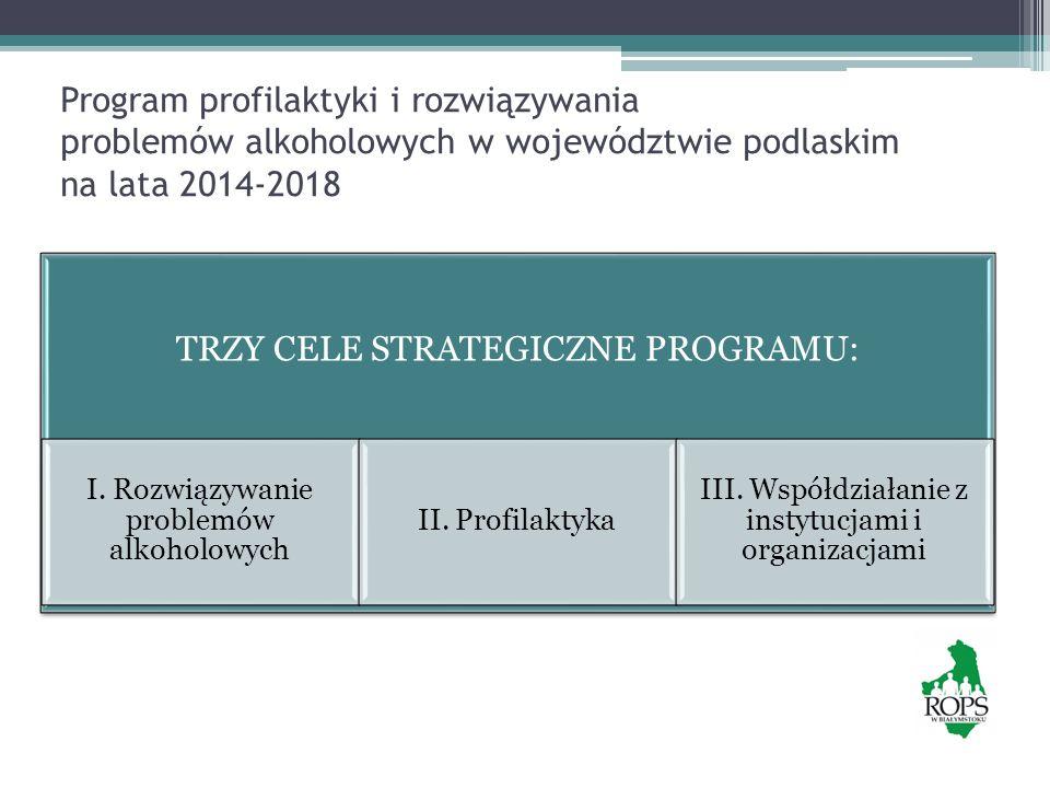 W ramach pierwszego celu strategicznego określono pięć celów operacyjnych CEL STRATEGICZNY I ROZWIĄZYWANIE PROBLEMÓW ALKOHOLOWYCH CEL OPERACYJNY 1 Zwiększenie dostępności i jakości świadczeń w zakresie leczenia, rehabilitacji i reintegrację poprzez rozwój i modernizację specjalistycznych podmiotów oraz programów dla osób uzależnionych od alkoholu, współuzależnionych i ich rodzin CEL OPERACYJNY 2 Wdrażanie metod wczesnej diagnozy i krótkiej interwencji wobec nadużywających alkohol CEL OPERACYJNY3 Zwiększenie dostępności pomocy terapeutycznej dla osób uzależnionych od alkoholu zagrożonych marginalizacją społeczną CEL OPERACYJNY4 Przeciwdziałanie przemocy w rodzinie z problemem alkoholowym CEL OPERACYJNY5 Ograniczenie szkód zdrowotnych wynikających ze spożywania alkoholu