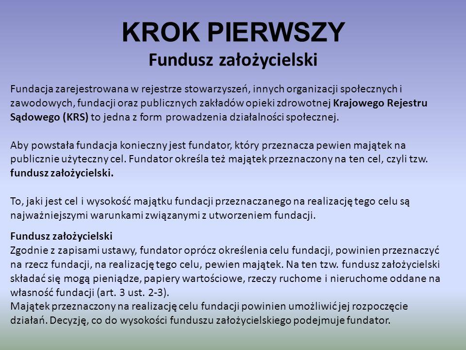 KROK PIERWSZY Fundusz założycielski Fundacja zarejestrowana w rejestrze stowarzyszeń, innych organizacji społecznych i zawodowych, fundacji oraz publi