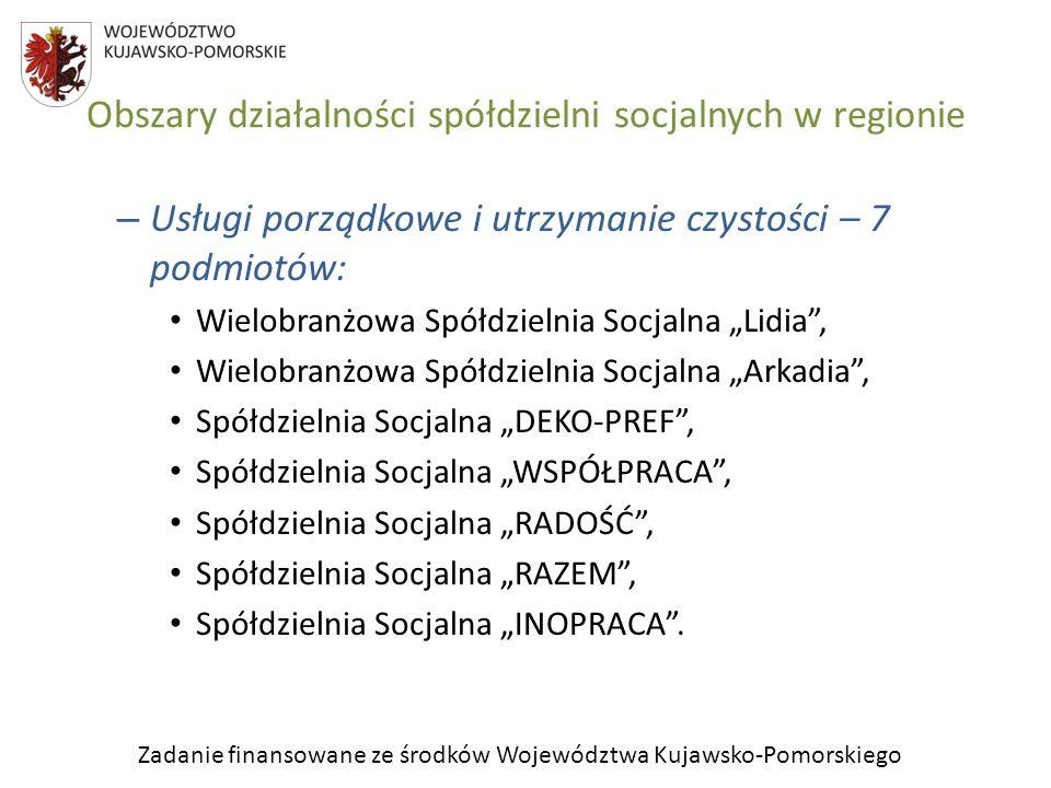 Zadanie finansowane ze środków Województwa Kujawsko-Pomorskiego Obszary działalności spółdzielni socjalnych w regionie – Usługi porządkowe i utrzymani