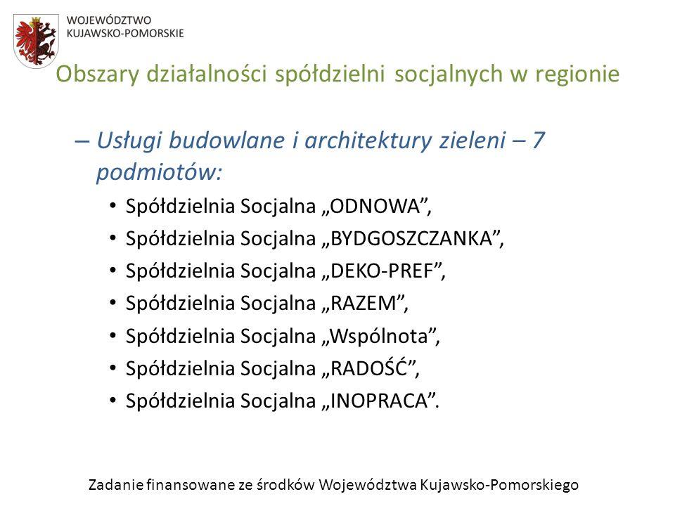 Zadanie finansowane ze środków Województwa Kujawsko-Pomorskiego Obszary działalności spółdzielni socjalnych w regionie – Usługi budowlane i architektu
