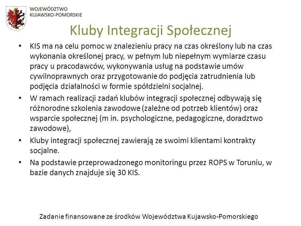 Zadanie finansowane ze środków Województwa Kujawsko-Pomorskiego KIS ma na celu pomoc w znalezieniu pracy na czas określony lub na czas wykonania okreś