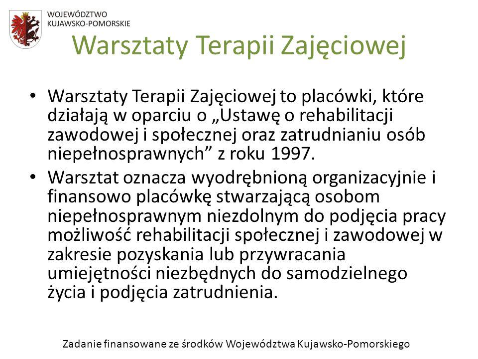 Zadanie finansowane ze środków Województwa Kujawsko-Pomorskiego Warsztaty Terapii Zajęciowej Warsztaty Terapii Zajęciowej to placówki, które działają