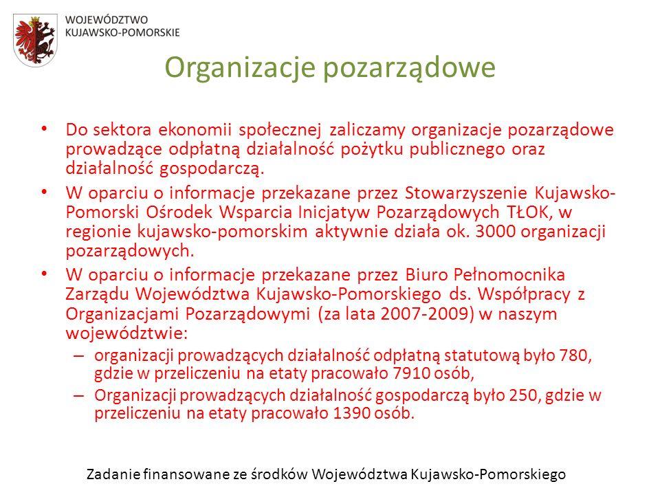 Zadanie finansowane ze środków Województwa Kujawsko-Pomorskiego Do sektora ekonomii społecznej zaliczamy organizacje pozarządowe prowadzące odpłatną d