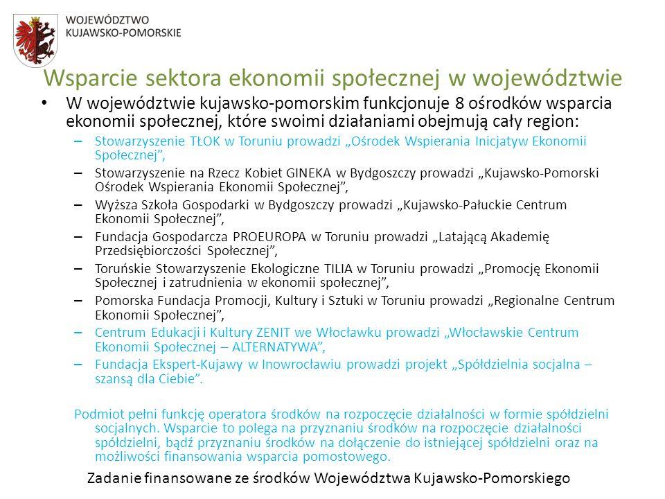 Zadanie finansowane ze środków Województwa Kujawsko-Pomorskiego Wsparcie sektora ekonomii społecznej w województwie W województwie kujawsko-pomorskim