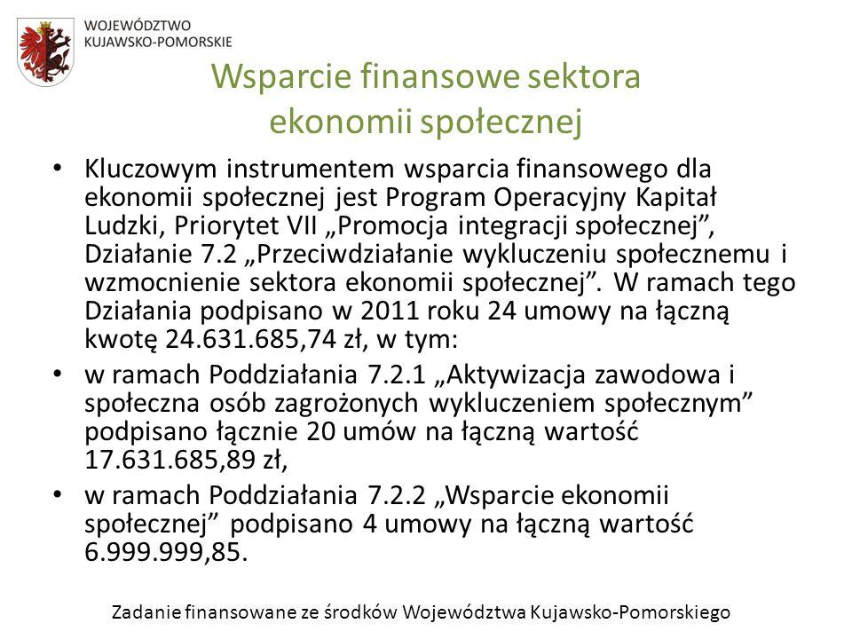Zadanie finansowane ze środków Województwa Kujawsko-Pomorskiego Wsparcie finansowe sektora ekonomii społecznej Kluczowym instrumentem wsparcia finanso