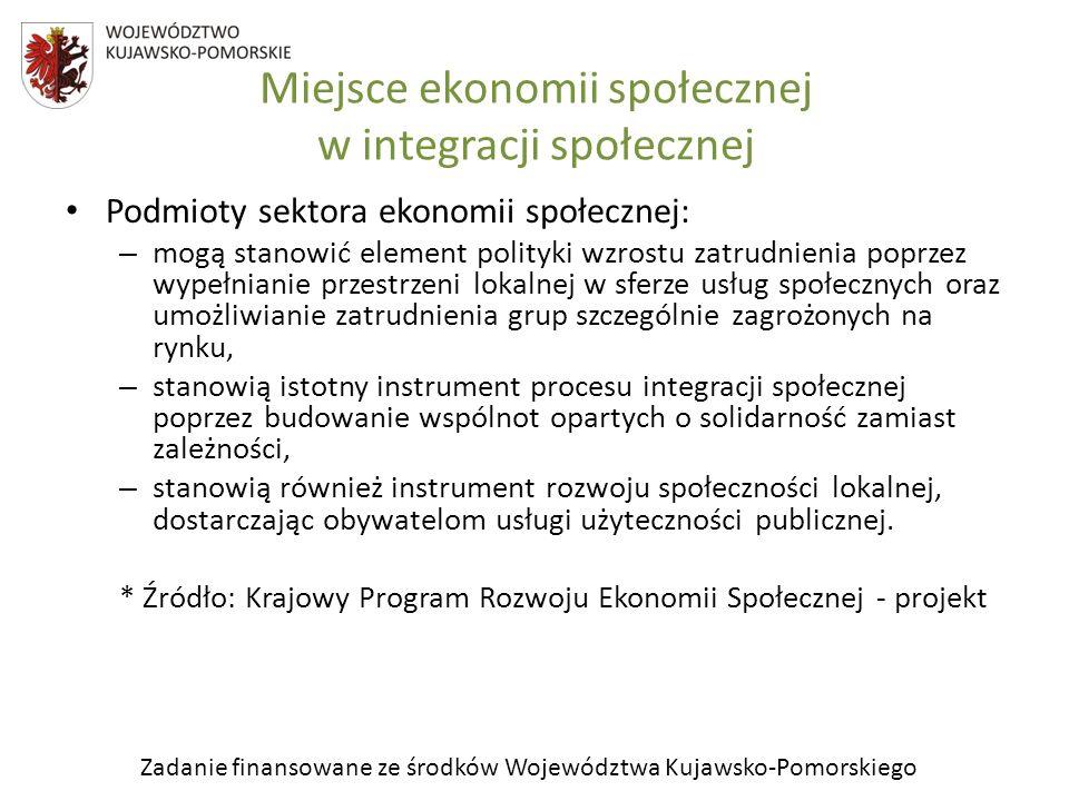 Zadanie finansowane ze środków Województwa Kujawsko-Pomorskiego Miejsce ekonomii społecznej w integracji społecznej Podmioty sektora ekonomii społeczn