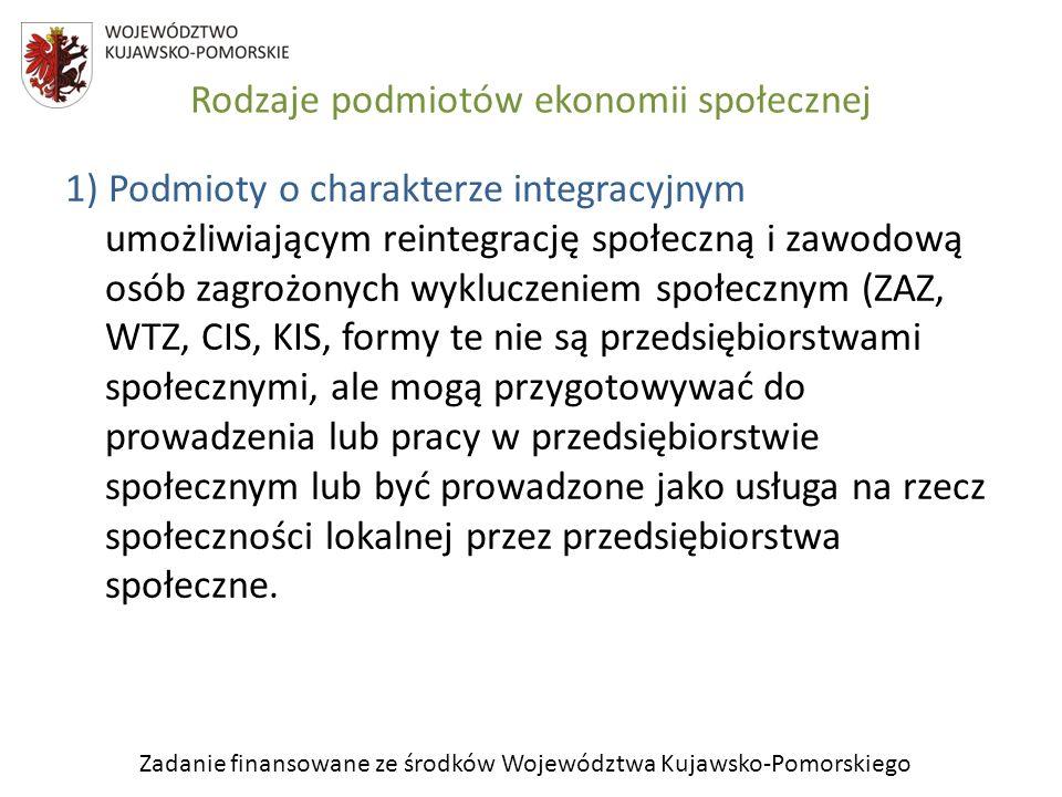 Zadanie finansowane ze środków Województwa Kujawsko-Pomorskiego Rodzaje podmiotów ekonomii społecznej 2) Podmioty o charakterze pożytku publicznego prowadzą działalność ekonomiczną, zatrudniają pracowników, ale ich działanie nie jest oparte na ryzyku ekonomicznym.