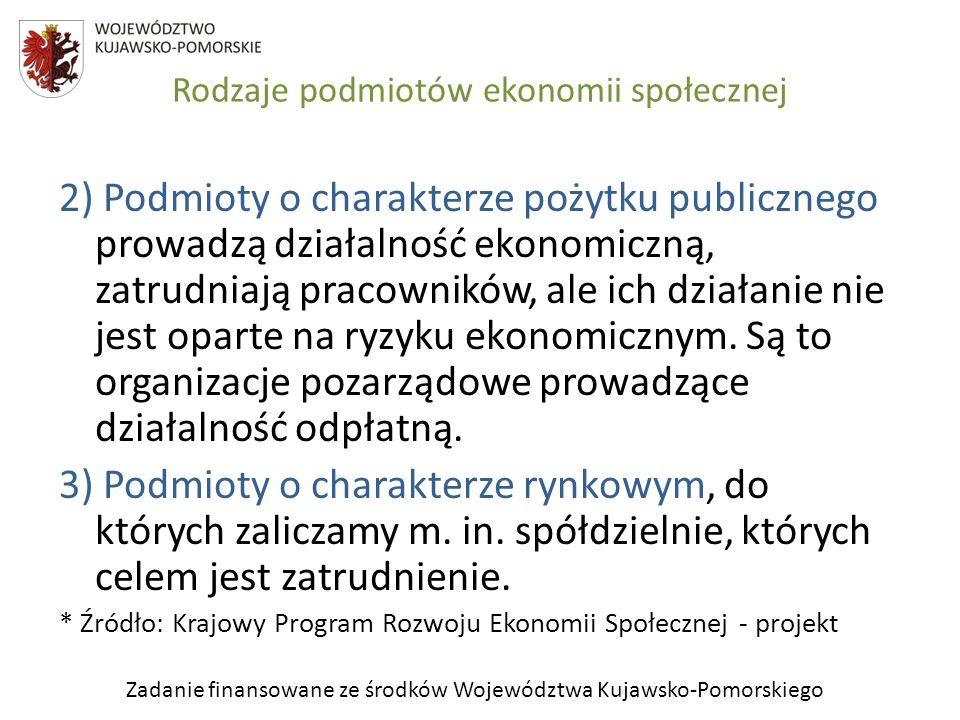 Zadanie finansowane ze środków Województwa Kujawsko-Pomorskiego Rodzaje podmiotów ekonomii społecznej 2) Podmioty o charakterze pożytku publicznego pr