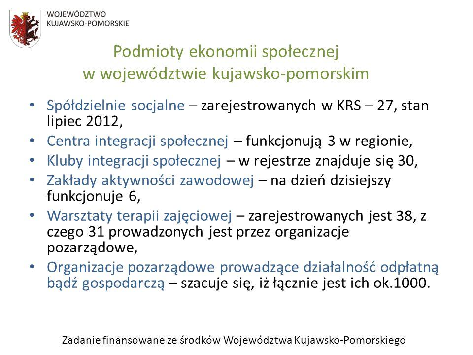 Zadanie finansowane ze środków Województwa Kujawsko-Pomorskiego Podmioty ekonomii społecznej w Województwie Kujawsko-Pomorskim Klasycznym typem przedsiębiorstw społecznych funkcjonujących w Polsce i w regionie kujawsko- pomorskim są spółdzielnie socjalne, które są wspólnym przedsięwzięciem, w celu przywrócenie na rynek pracy osób zagrożonych wykluczeniem społecznym, osób o niskiej zatrudnialności oraz umożliwienie osobom bezrobotnym aktywizacji zawodowej.