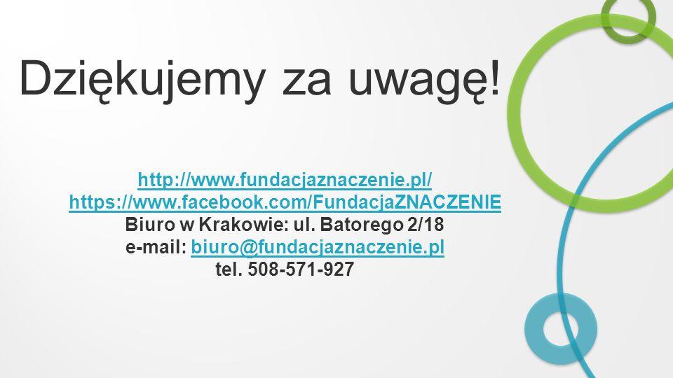 Dziękujemy za uwagę! http://www.fundacjaznaczenie.pl/ https://www.facebook.com/FundacjaZNACZENIE Biuro w Krakowie: ul. Batorego 2/18 e-mail: biuro@fun