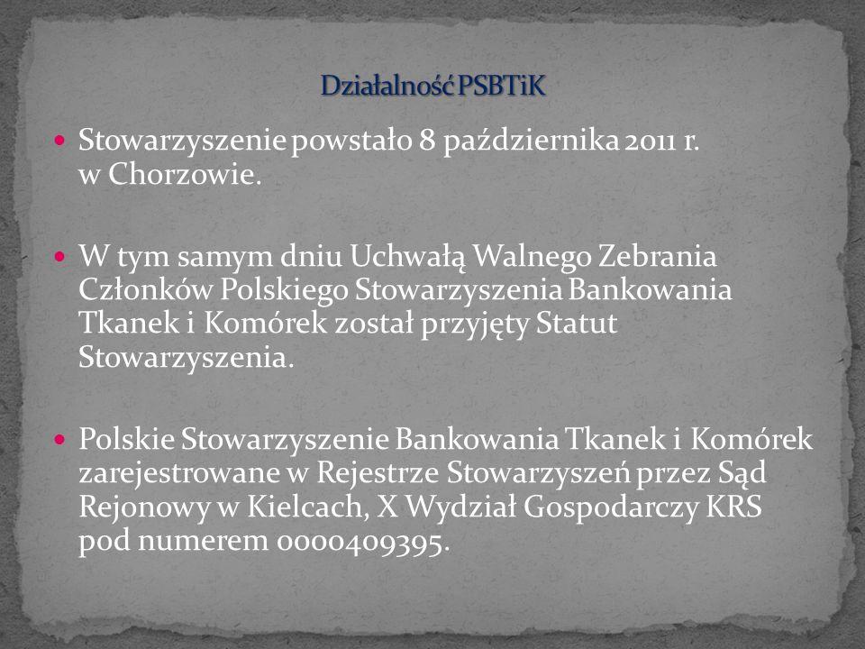 Stowarzyszenie powstało 8 października 2011 r. w Chorzowie. W tym samym dniu Uchwałą Walnego Zebrania Członków Polskiego Stowarzyszenia Bankowania Tka