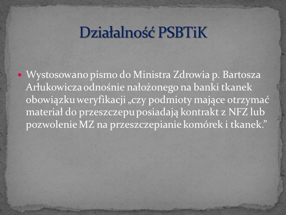 Wystosowano pismo do Ministra Zdrowia p. Bartosza Arłukowicza odnośnie nałożonego na banki tkanek obowiązku weryfikacji czy podmioty mające otrzymać m