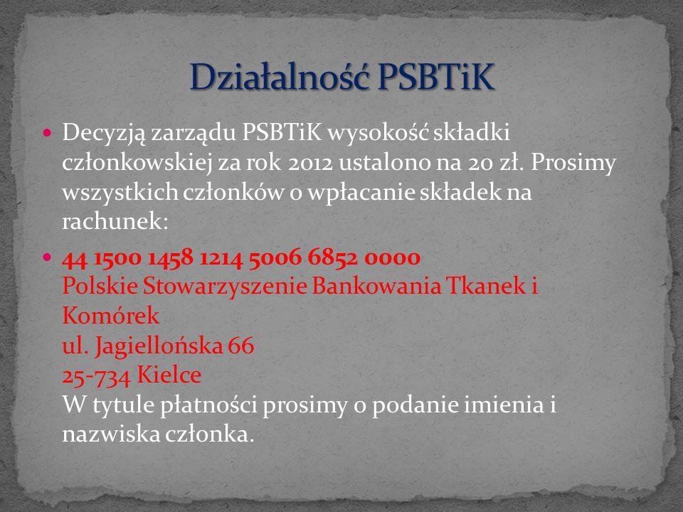 Decyzją zarządu PSBTiK wysokość składki członkowskiej za rok 2012 ustalono na 20 zł. Prosimy wszystkich członków o wpłacanie składek na rachunek: 44 1