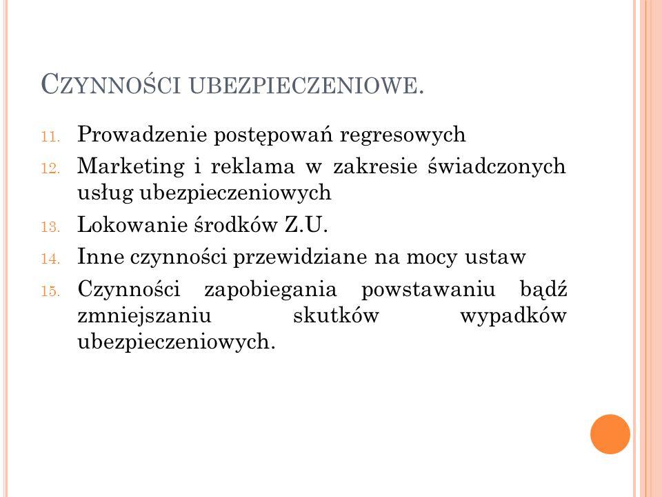 C ZYNNOŚCI UBEZPIECZENIOWE. 11. Prowadzenie postępowań regresowych 12. Marketing i reklama w zakresie świadczonych usług ubezpieczeniowych 13. Lokowan