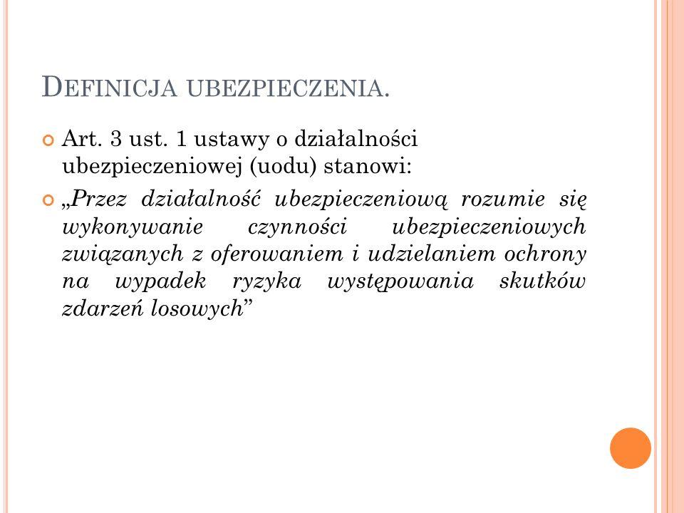 D EFINICJA UBEZPIECZENIA. Art. 3 ust. 1 ustawy o działalności ubezpieczeniowej (uodu) stanowi: Przez działalność ubezpieczeniową rozumie się wykonywan
