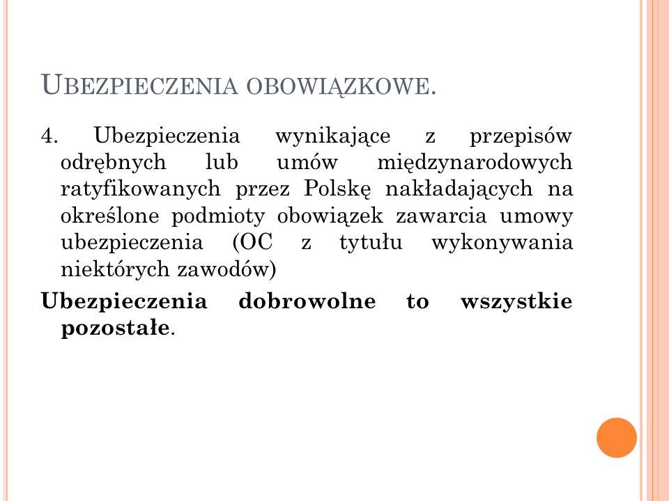 U BEZPIECZENIA OBOWIĄZKOWE. 4. Ubezpieczenia wynikające z przepisów odrębnych lub umów międzynarodowych ratyfikowanych przez Polskę nakładających na o
