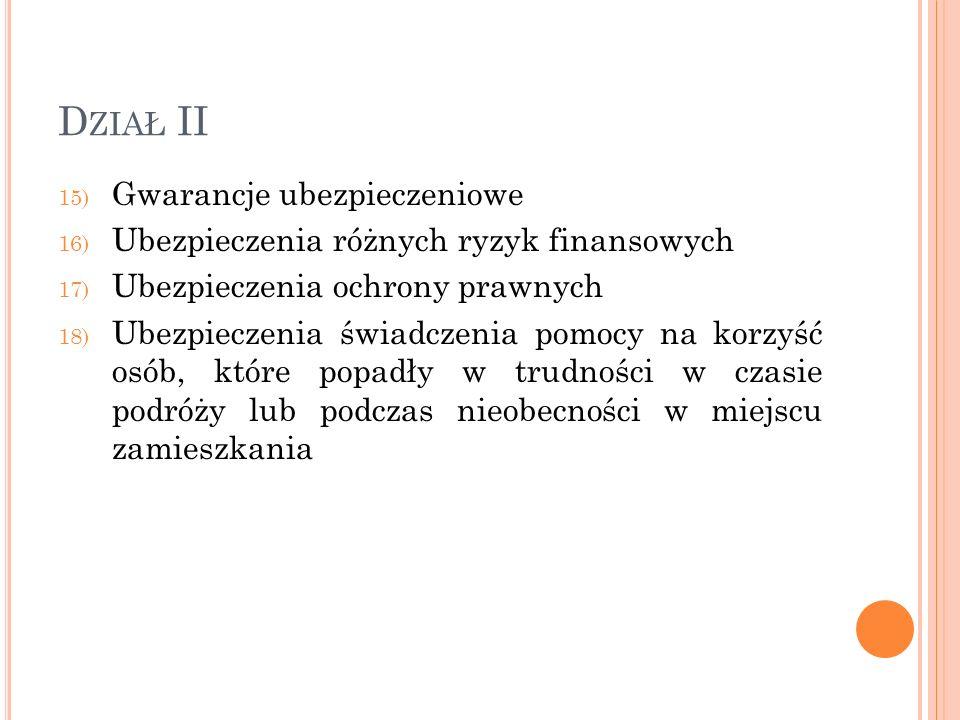 D ZIAŁ II 15) Gwarancje ubezpieczeniowe 16) Ubezpieczenia różnych ryzyk finansowych 17) Ubezpieczenia ochrony prawnych 18) Ubezpieczenia świadczenia p
