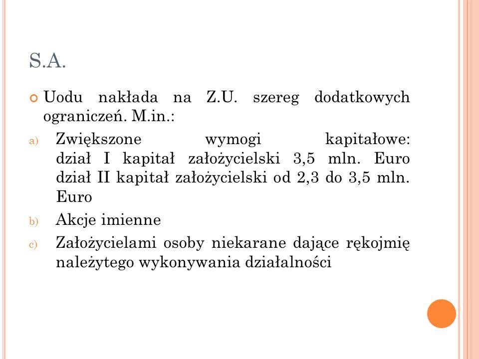 S.A. Uodu nakłada na Z.U. szereg dodatkowych ograniczeń. M.in.: a) Zwiększone wymogi kapitałowe: dział I kapitał założycielski 3,5 mln. Euro dział II