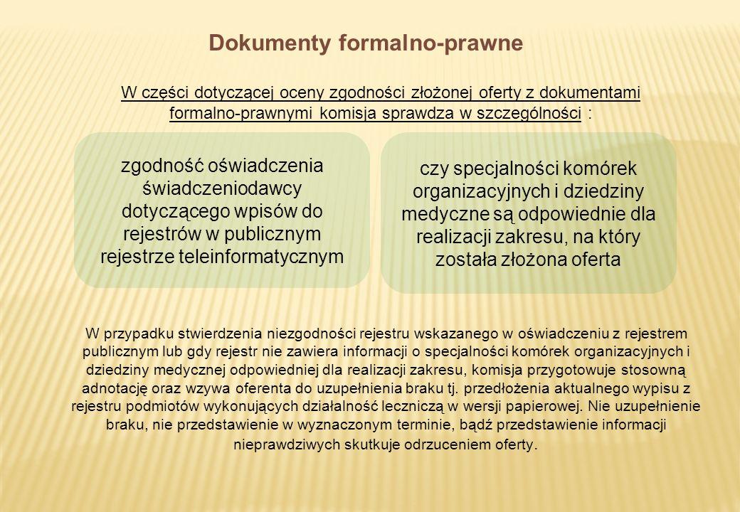 Dokumenty formalno-prawne W części dotyczącej oceny zgodności złożonej oferty z dokumentami formalno-prawnymi komisja sprawdza w szczególności : zgodn