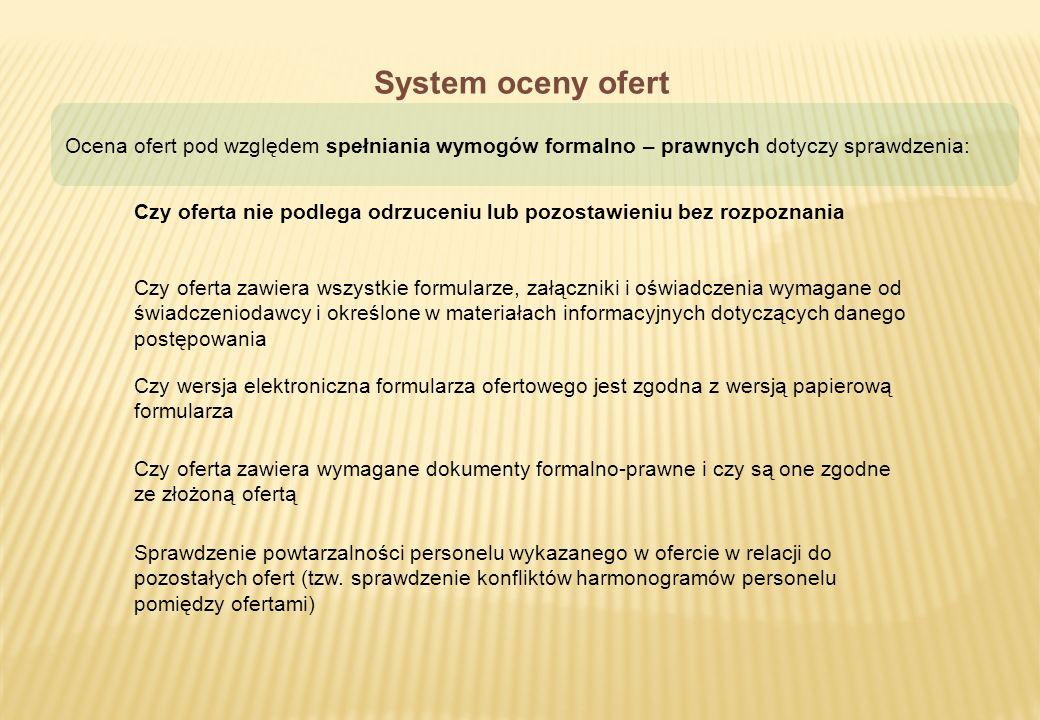 System oceny ofert Ocena ofert pod względem spełniania wymogów formalno – prawnych dotyczy sprawdzenia: Czy oferta nie podlega odrzuceniu lub pozostaw