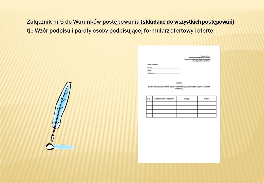 nośnik, na którym została zapisana wersja elektroniczna oferty jest prawidłowo oznaczony; wszystkie dodatkowe dokumenty i oświadczenia zostały załączone, ponumerowane i podpisane przez osobę uprawnioną do reprezentowania świadczeniodawcy zgodnie z załączonym do oferty wzorem podpisów; załączone dokumenty stanowiące kserokopie są potwierdzone za zgodność z oryginałem; wydruk formularza oferty (z ponumerowanymi stronami i podpisami) wraz z nośnikiem elektronicznym i wersja elektroniczna oferty zostały umieszczone w oddzielnej zaklejonej kopercie oznaczonej słowem oferta, nazwą i adresem świadczeniodawcy oraz kodem i przedmiotem postępowania (zgodnie z ogłoszeniem o postępowaniu).