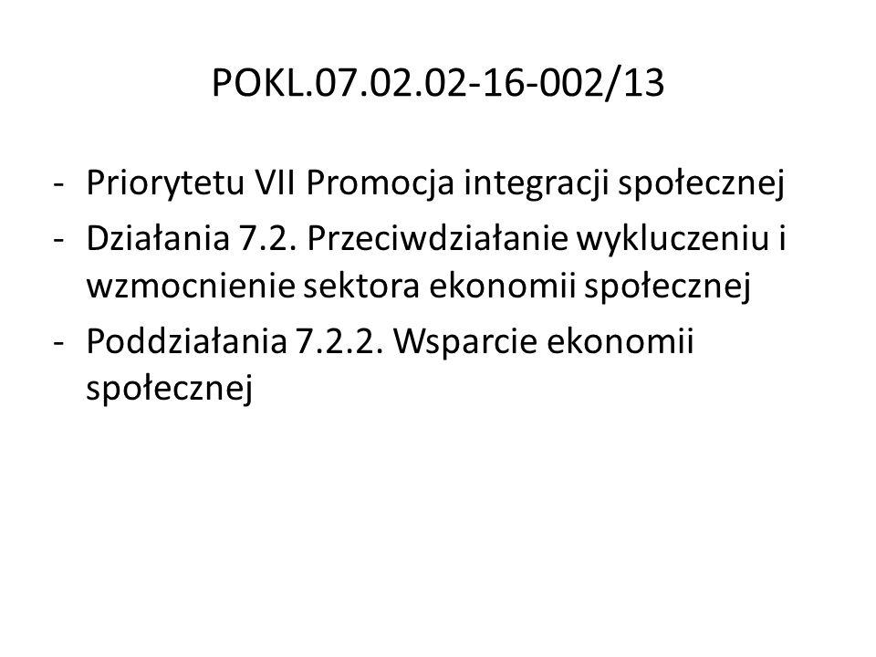 POKL.07.02.02-16-002/13 -Priorytetu VII Promocja integracji społecznej -Działania 7.2. Przeciwdziałanie wykluczeniu i wzmocnienie sektora ekonomii spo