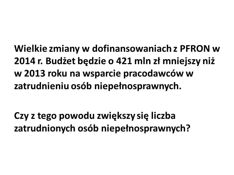 Wielkie zmiany w dofinansowaniach z PFRON w 2014 r. Budżet będzie o 421 mln zł mniejszy niż w 2013 roku na wsparcie pracodawców w zatrudnieniu osób ni