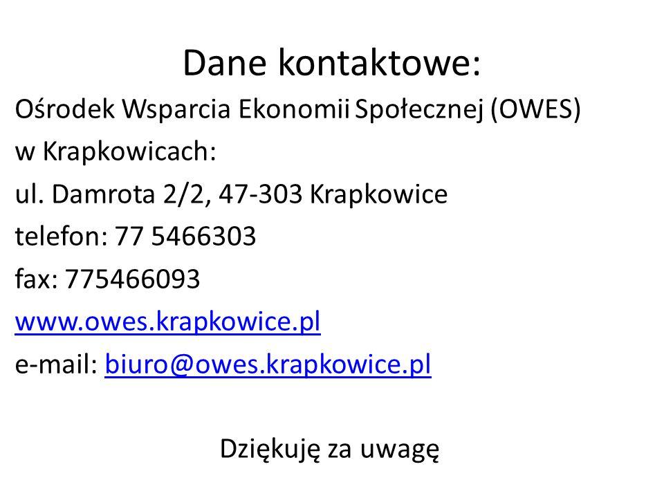 Dane kontaktowe: Ośrodek Wsparcia Ekonomii Społecznej (OWES) w Krapkowicach: ul. Damrota 2/2, 47-303 Krapkowice telefon: 77 5466303 fax: 775466093 www