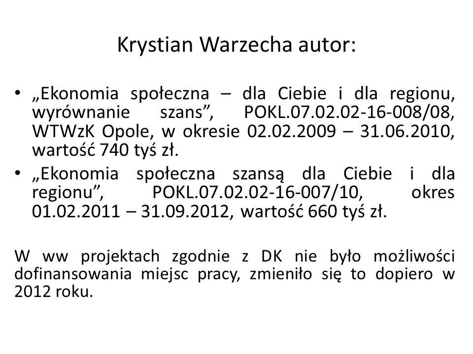 Krystian Warzecha autor: Ekonomia społeczna – dla Ciebie i dla regionu, wyrównanie szans, POKL.07.02.02-16-008/08, WTWzK Opole, w okresie 02.02.2009 –